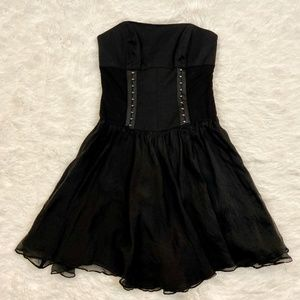 Bebe Black Corset Lace Up Strapless Dress
